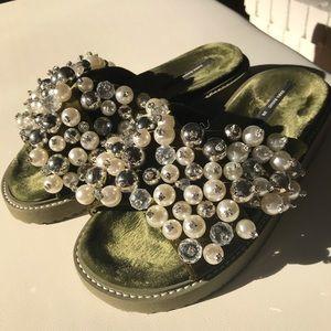 ZARA Beaded Mules Sandals Flip Flops